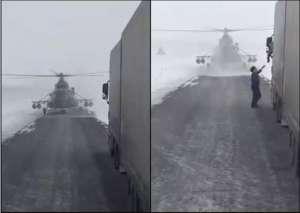 直升机迷路停公路:拦住货车问路 哈萨克斯坦国防部如此回应